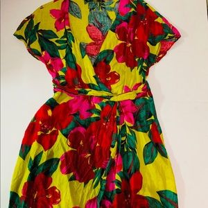 ZARA Linen Floral Short Sleeve Wrap V Neck Dress🌺